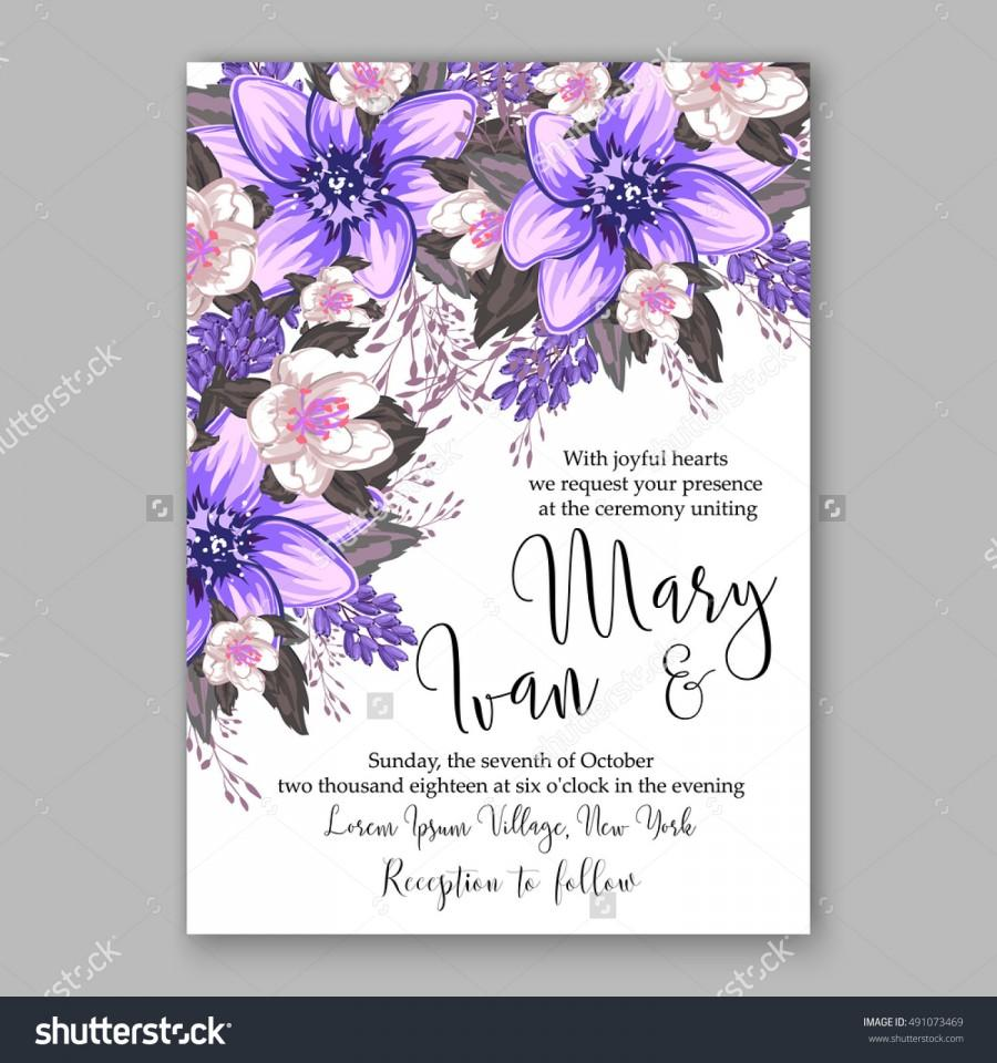 Wedding Invitation Card With Abstract Fl Background