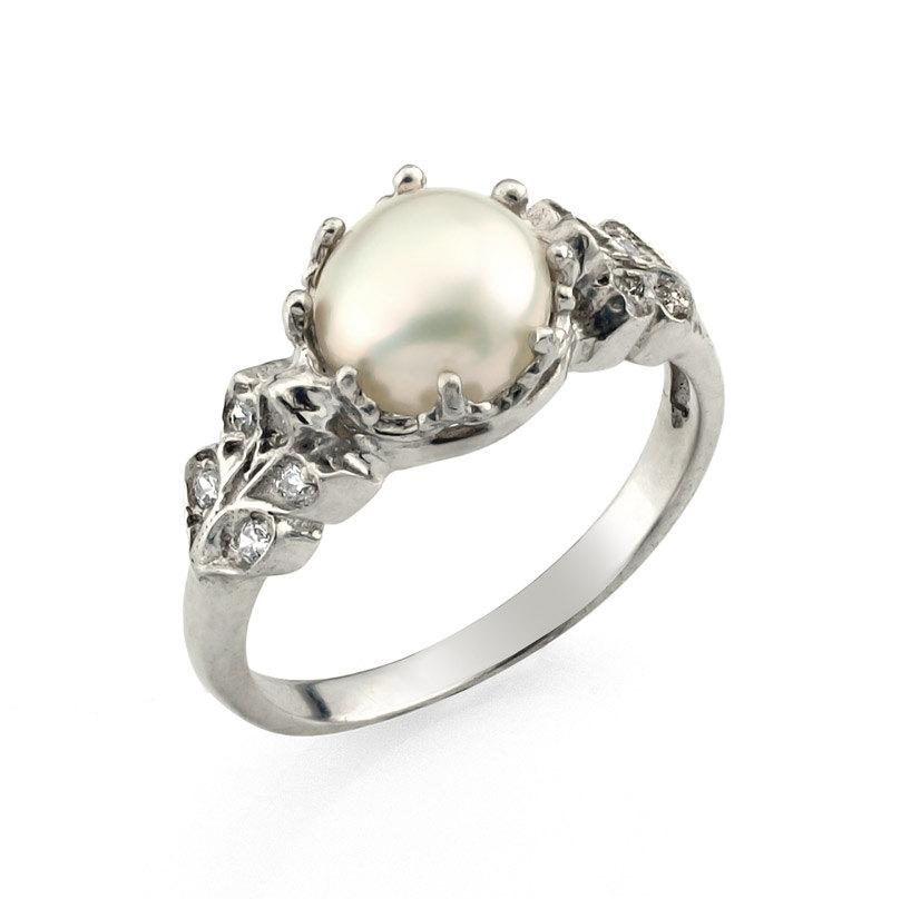 Engagement Ring Pearl Wedding Fl Vintage Style Unique Diamond