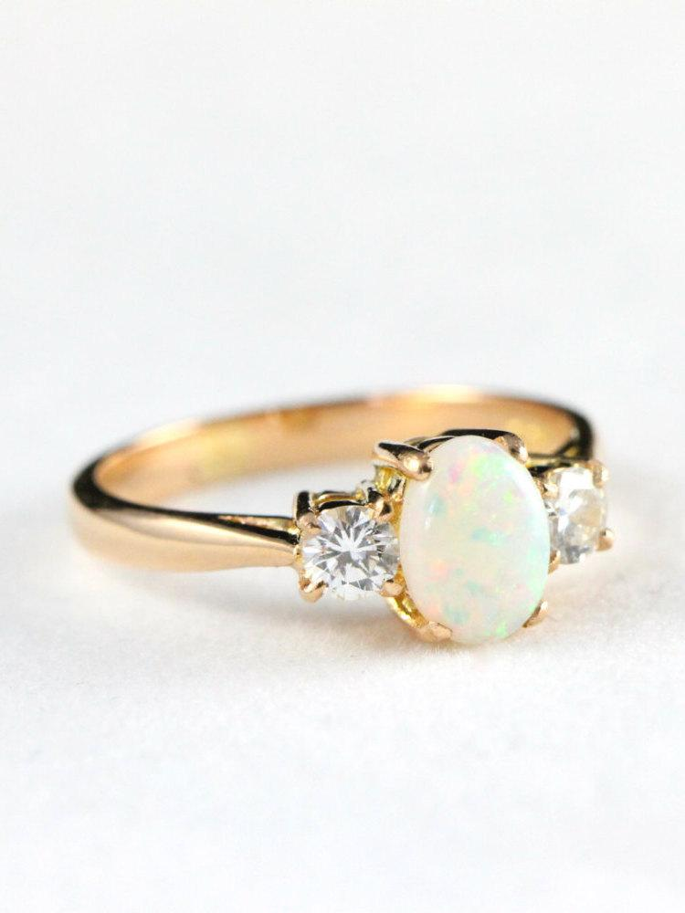 Rose Gold Opal And Diamond Engagement Ring In 18 Carat For Her Handmade Uk