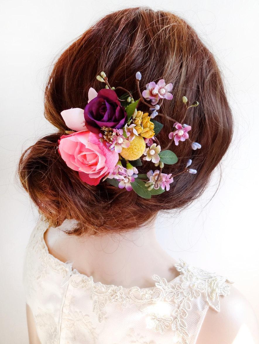 flower hair clip wedding, floral hair comb, pink flower hair clip
