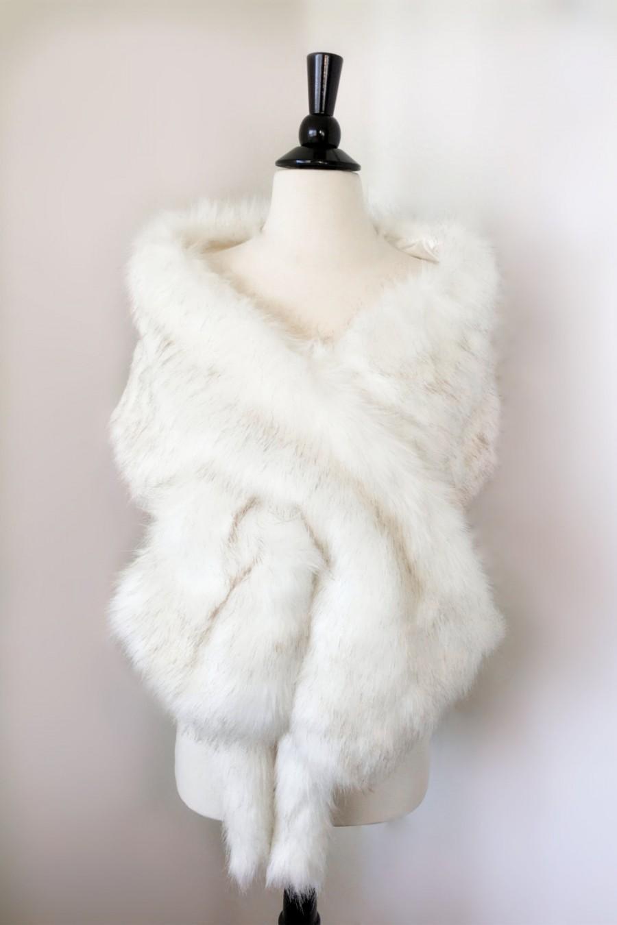 Ivory Faux Fur Bridal Wrap Wedding Shrug White Stole Shawl Cape