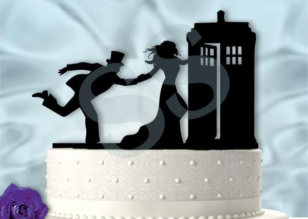 Bride Pulling Groom Into Tardis Dr Who Inspired Wedding Cake Topper