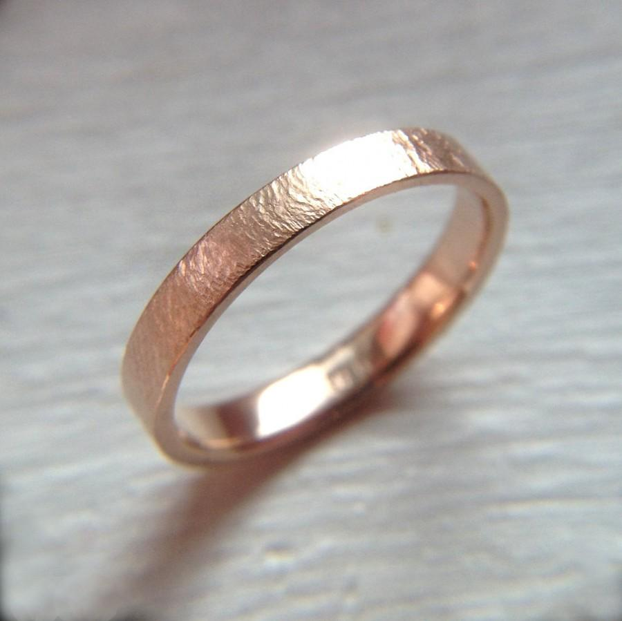 14k Womens Rose Gold Wedding Band 3mm Textured Size 4 Ring Or Your
