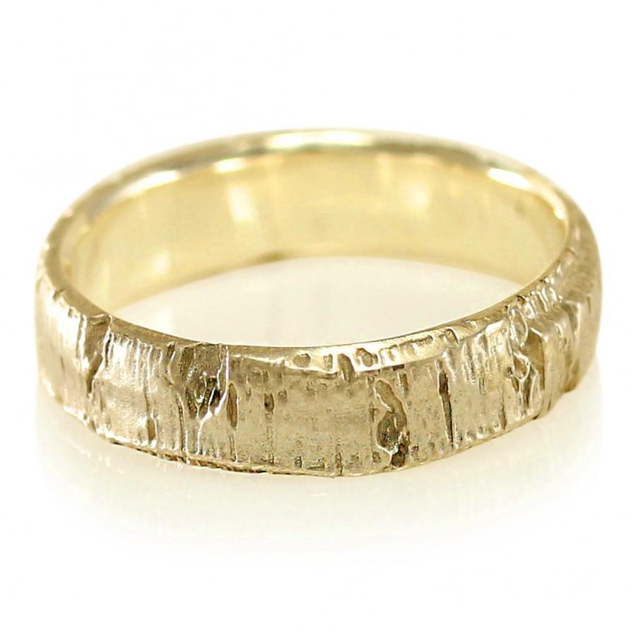 Aspen Bark Yellow Gold Mens Wedding Band In 10k 14k 18k Or Palladium Tree Ring