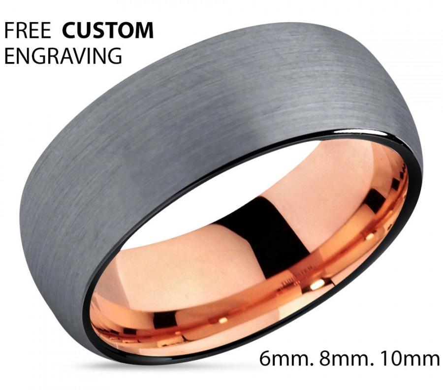 Brushed Silver Tungsten Rose Gold Wedding Band Ring Carbide 10mm 18k Man Male Women Anniversary Matching