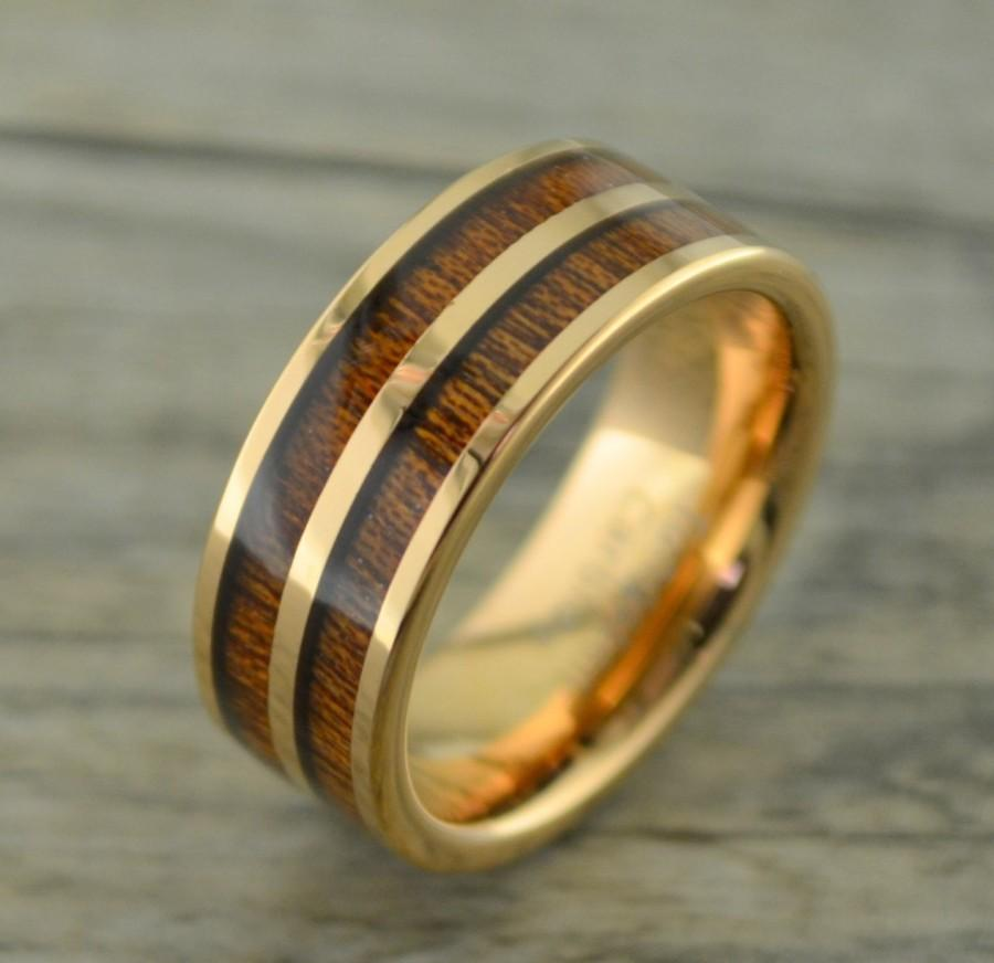 Tungsten Rose Gold Ring With Double Row Koa Wood Inlay 8MM