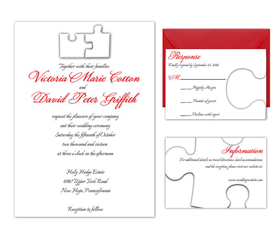 Puzzle Pieces Wedding Invitation Suite Rsvp And Information Card Included Diy Kit Print Edit At Home In Adobe Reader