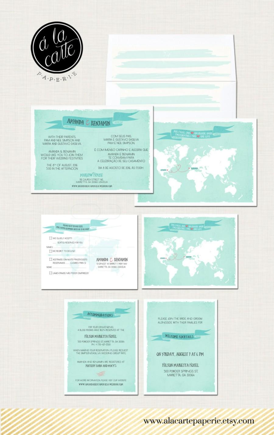 Destination Wedding Invitation Two Countries One Love Bilingual World Map And Rsvp Postcards Design Fee