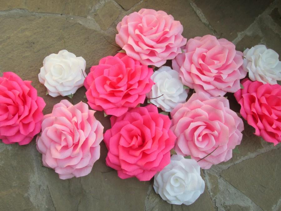 12 Giant Paper Flowers Roses Wedding Decoration Arch Table Flower Pink And White