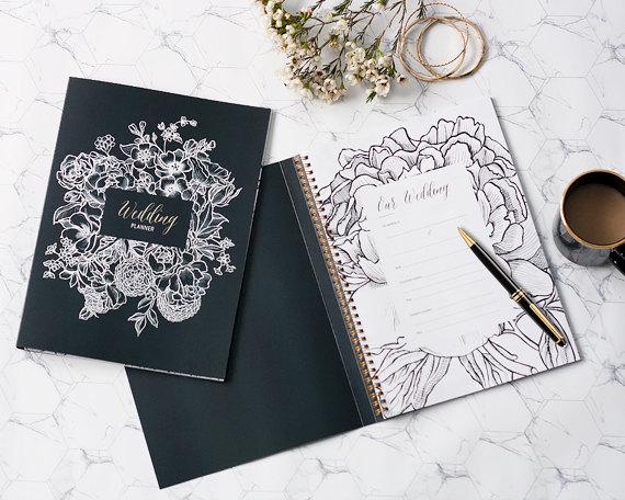 Wedding Planner Book Organiser Plan Your Day Bride Notebook Journal Keepsake Monochrome