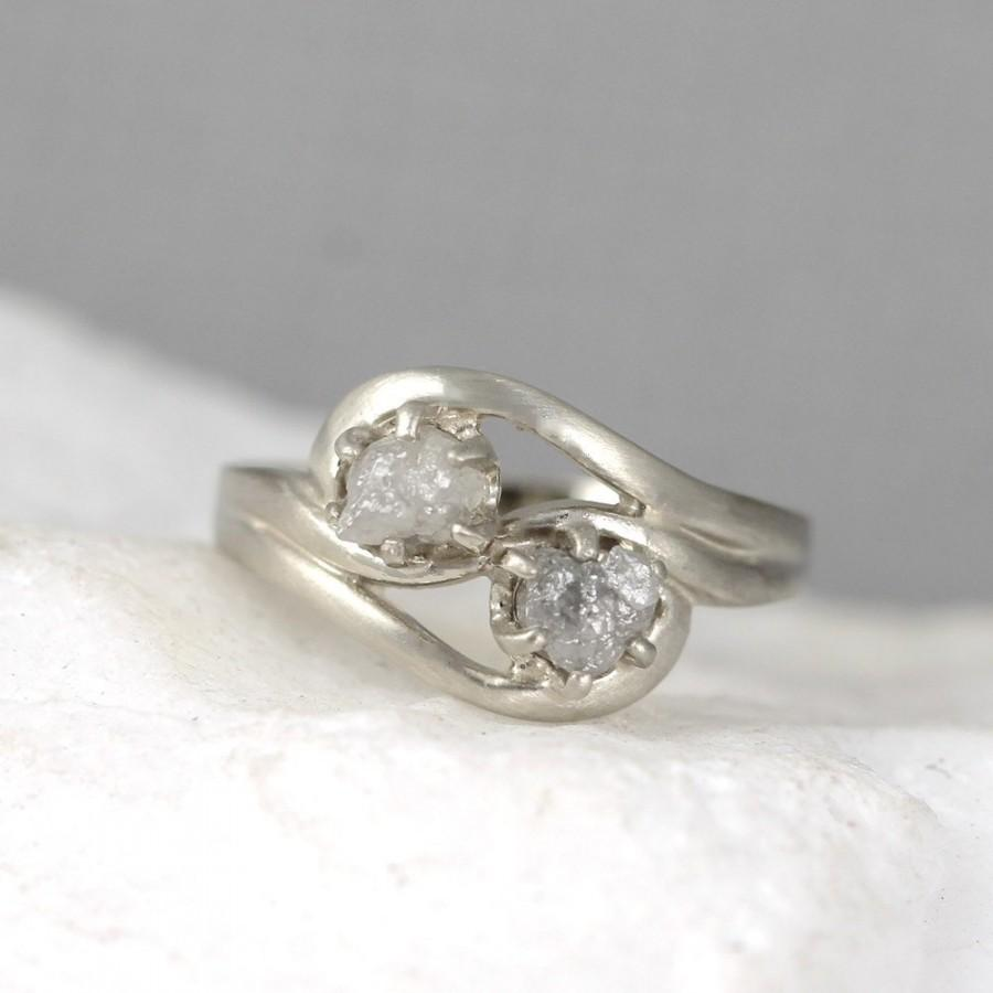 2 Stone Raw Diamond Engagement Ring Set Two Uncut Rough Wedding Forever And Always Duo Rings 14k White Gold