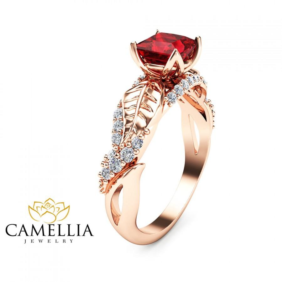 Best 14K Rose Gold Ruby Ring,Art Deco Engagement Ring,Ruby Rings,Nature  YN33