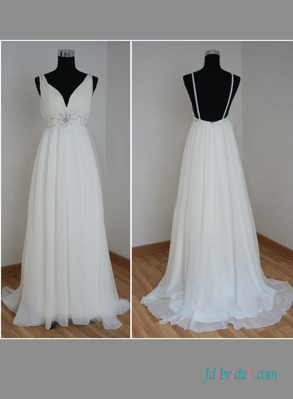 Simple Backless Babydoll Chiffon Beach Wedding Dress