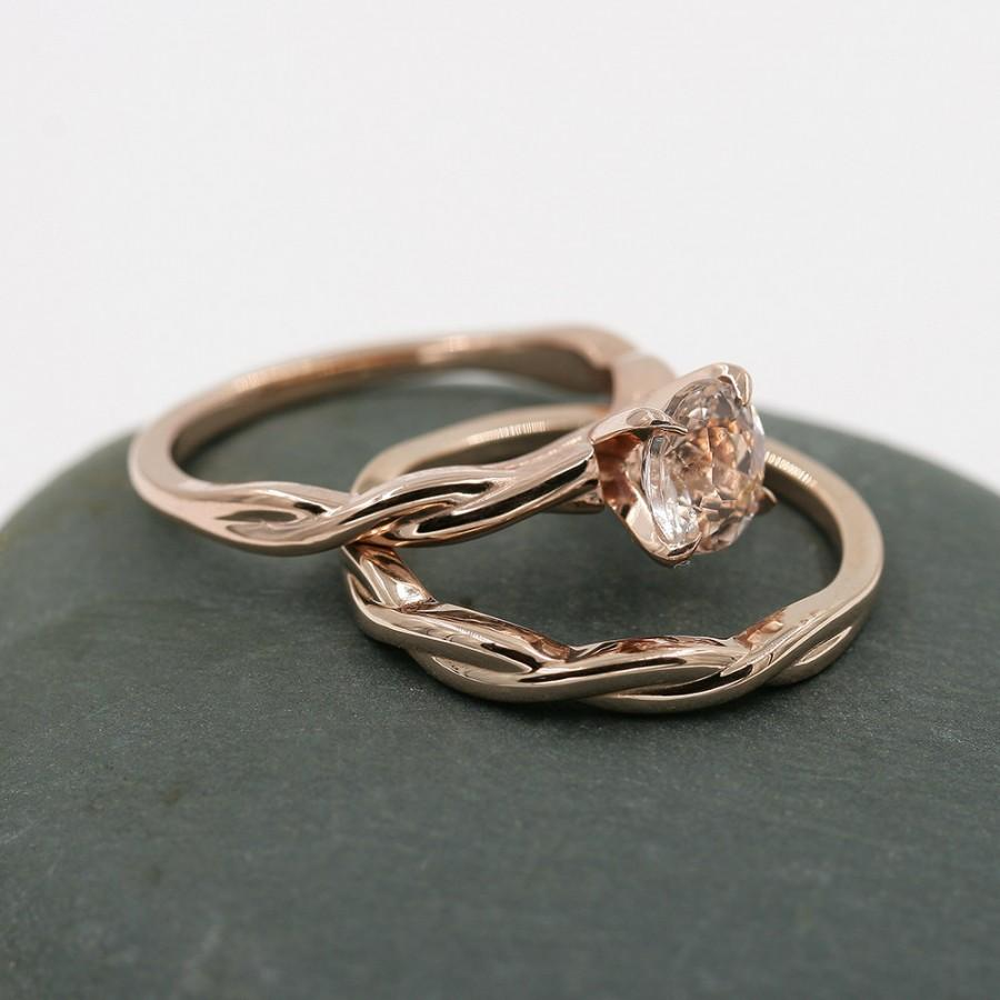 Morganite Engagement Ring 14k Rose Gold And Matching Band Set Wedding Solitaire Twist