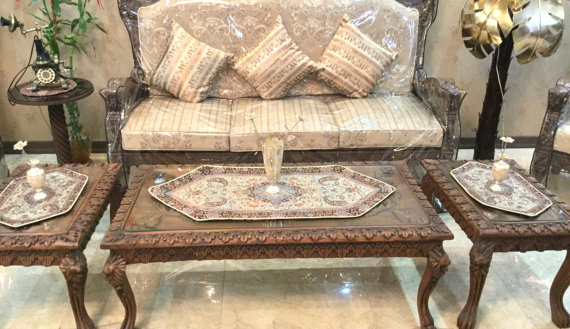 Coffee Table Runner Gold Tablecloth End Persian Termeh Beige Art
