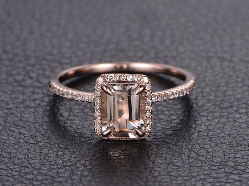 Emerald Cut Morganite Ring 14K Rose Gold Morganite Engagement Ring