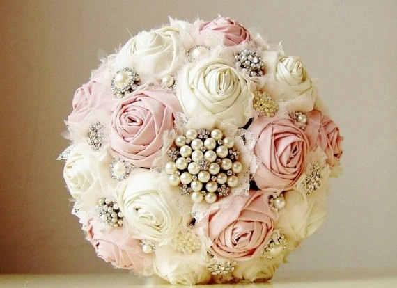 Brooch Wedding Bouquet Vintage Bridal Fabric Flower Pink Flowers