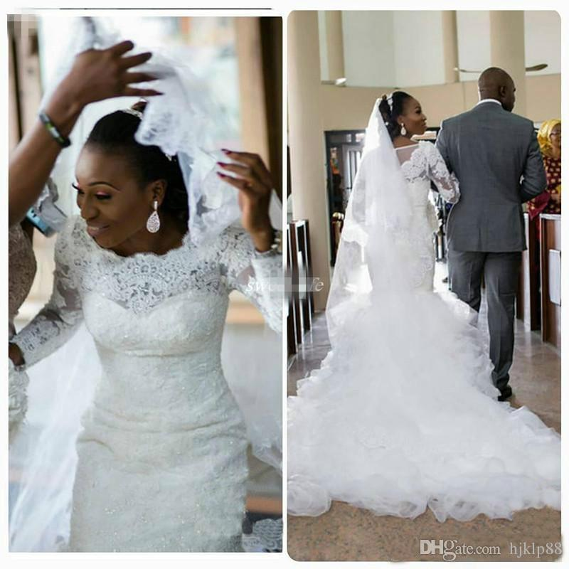African Vintage Mermaid Lace Wedding Dresses Plus Size Long Sleeve Liques Sequined Ruffle Trains 2016 Nigerian Bridal Gowns 2017