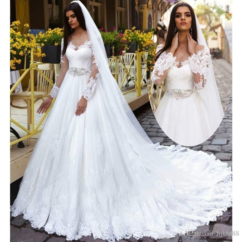 A Line Wedding Dresses 2017 Scoop Long Sleeve Lace Up Bridal Gowns Sweep Train And Lique Vestido De Noiva With Belt
