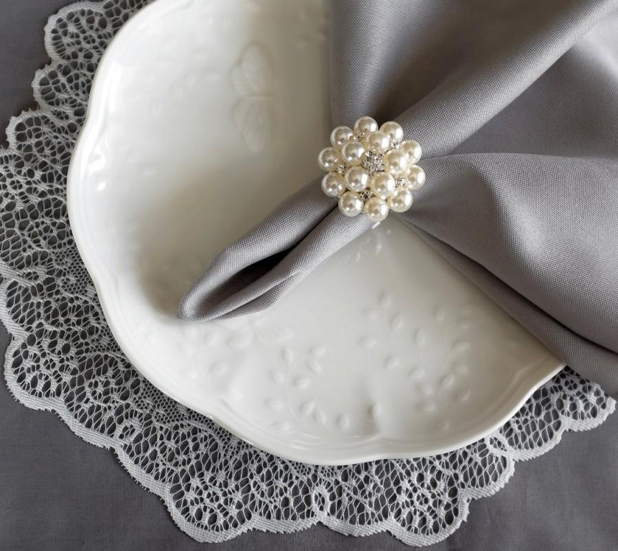 Wedding Napkin Ring Rhinestone Crystal Holder Table Decor Diamante Pearl Nr005