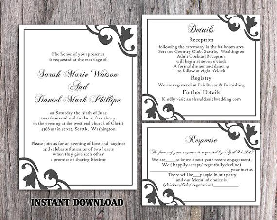 Diy Wedding Invitation Template Set Editable Word File Instant Download Printable Invitation Black Wedding Invitation Elegant Invitations 2601655 Weddbook