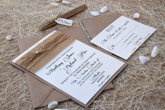 Simple Wedding Invitations Burlap Custom Rustic Eco Friendly Sample