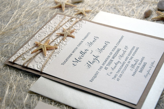 Beach Wedding Invitation Card Custom Invitations Embossed Rustic Unique Sample