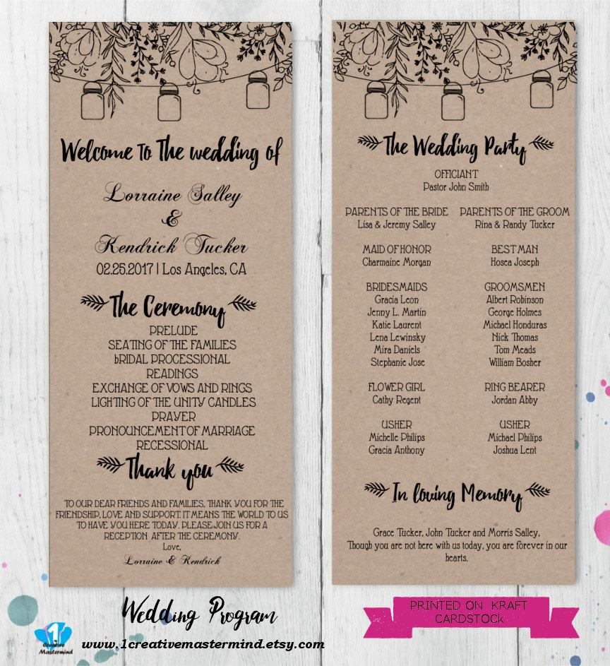 Diy Rustic Wedding Program Template Printable Editable Pdf Instant Digital Mason Jars And Flowers 1