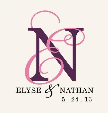 Custom Wedding Monogram Design Invitation Designed Entwined Elegant Digital File