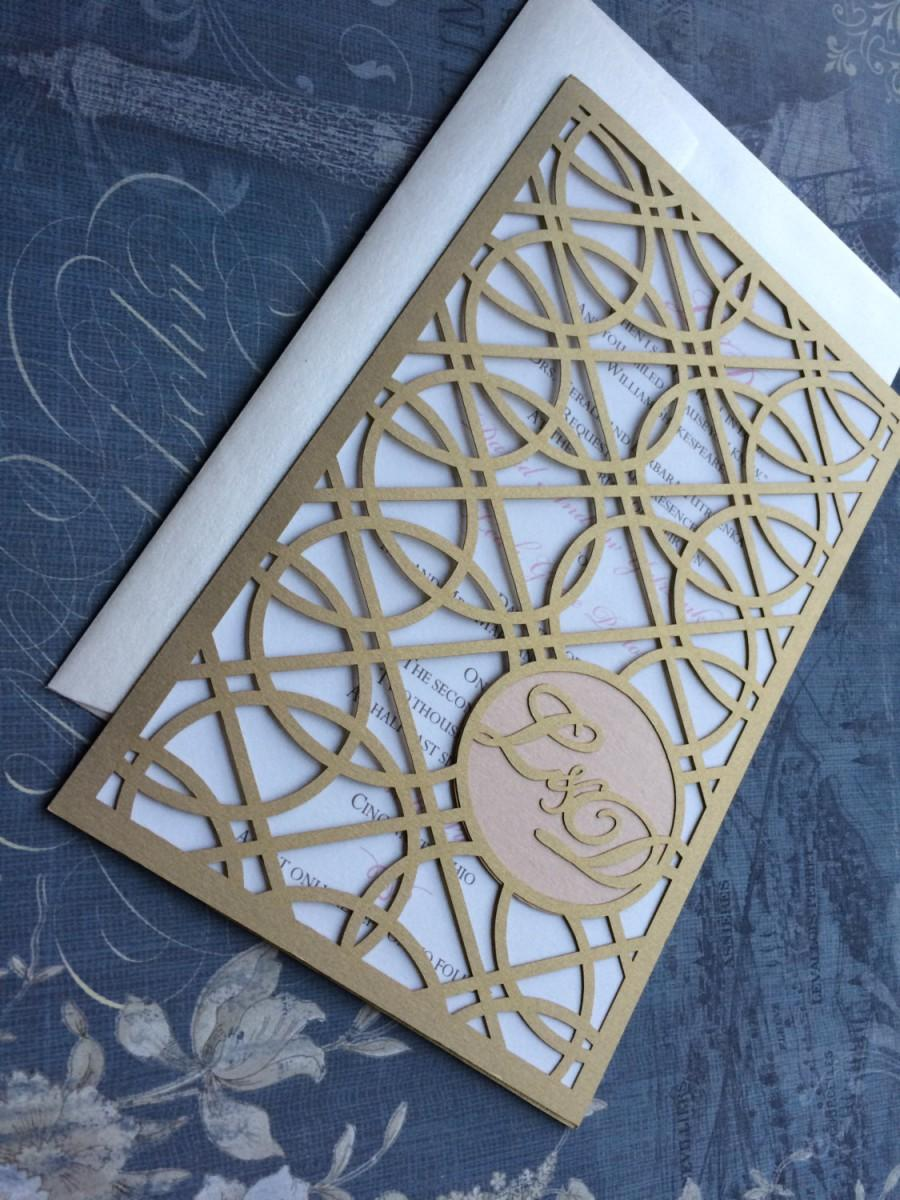Laser Cut Wedding Invitations Monogram Art Deco Rings Roaring 20s Custom Personalized