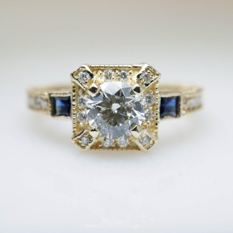 Intricate Art Deco Style 1 16ctw Diamond Engagement Ring In 14k Yellow Gold Shire Filigree Vintage Wedding
