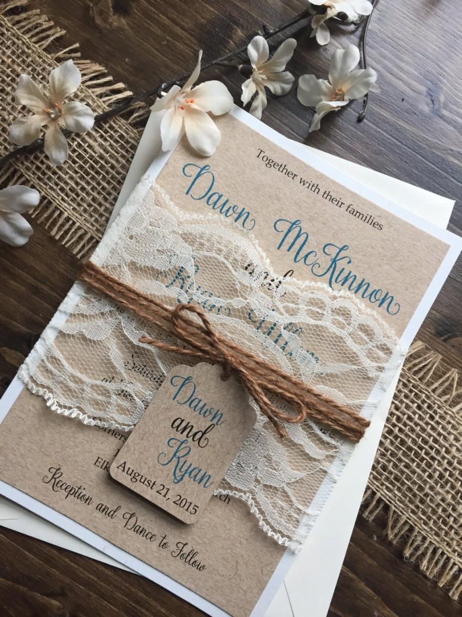 Rustic Wedding Invitation Vintage Shabby Chic Invitations Lace Barn