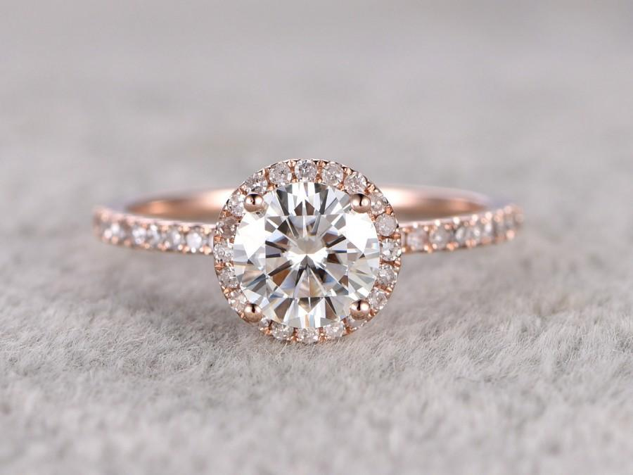 1ct Brilliant Moissanite Engagement Ring Rose Gold Diamond Wedding