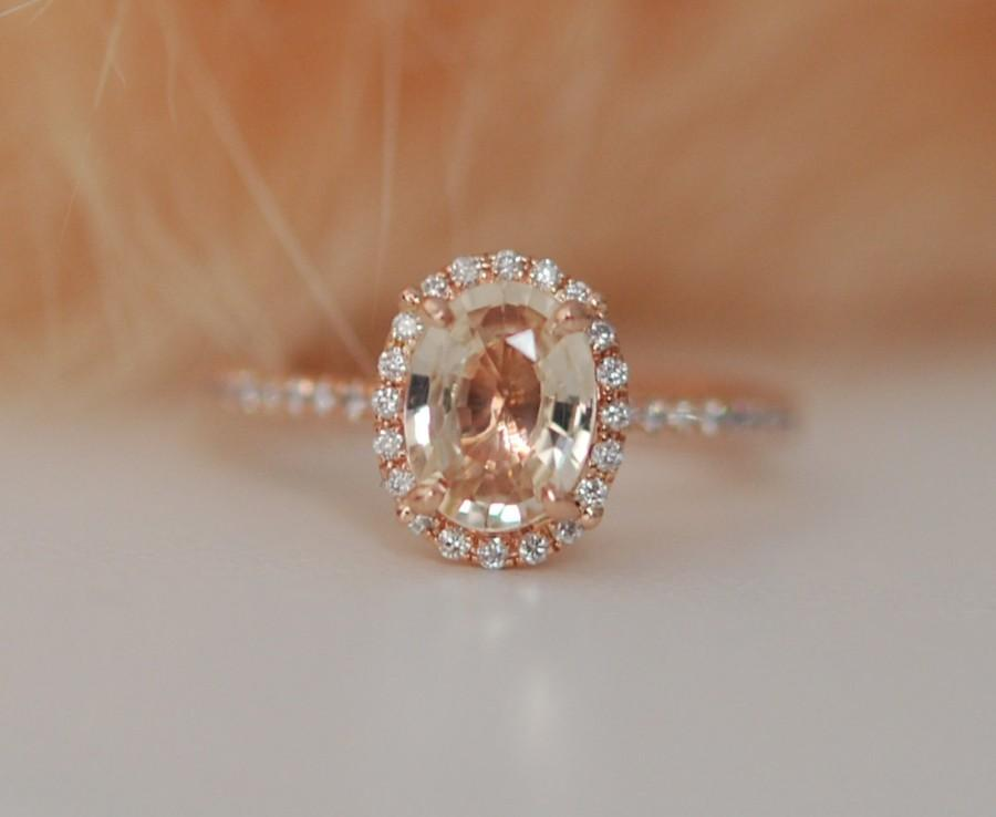 Rose Gold Ring Peach Shire Diamond 14k Oval Engagement Rings By Eidelprecious