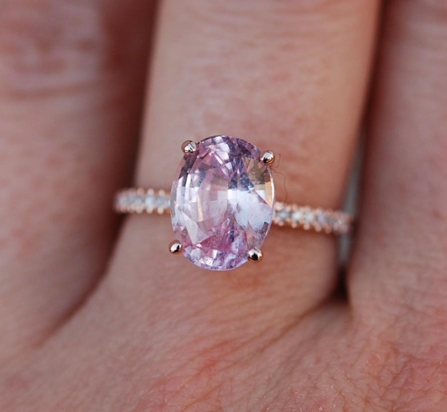 Blake Lively Ring Peach Pink Shire Engagement Oval Cut 14k Rose Gold Diamond 3 52ct Champagne