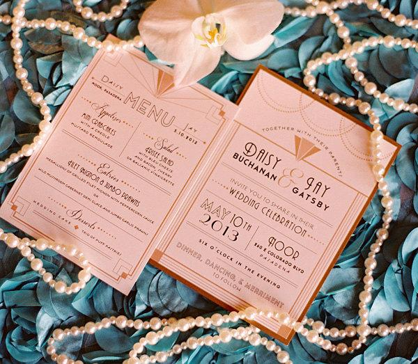 Art Deco Wedding Invitation Great Gatsby Roaring 20s Shimmer Paper Menu Save The Date