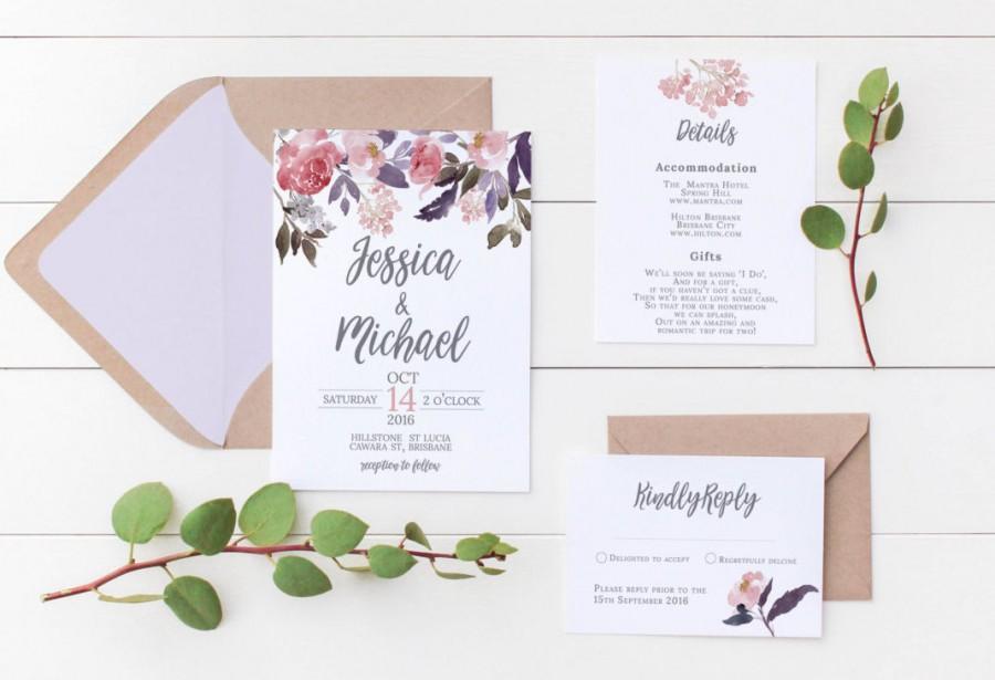 Printable Wedding Invitation Invitations Fl Digital Stationery Watercolor