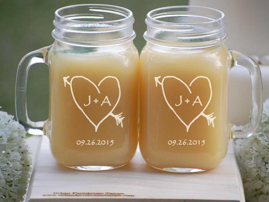 Valentines Day Gift For S Personalized Mason Jar Gles His And Hers Custom Engraved Rustic Heart Jars