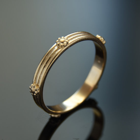 Floral Infinity Gold Band 14K Yellow Gold Flower Ring Wedding