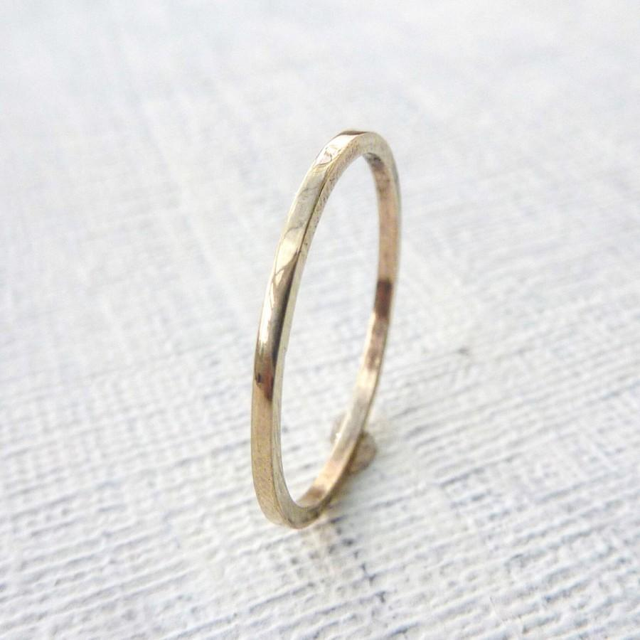 Gold Wedding Band Ring Womans Mens Thin Skinny