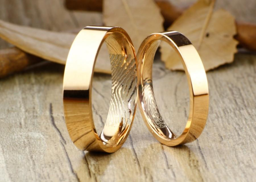 Your Thumb Print Rings Personalize Rose Gold Flat Matching Wedding