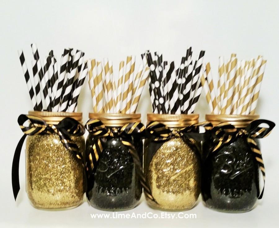 Mason Jar Centerpiece Wedding Centerpiece Graduation Party Decorations Black And Gold Decor Birthday Party Wedding Decor Set Of 4 2607752 Weddbook