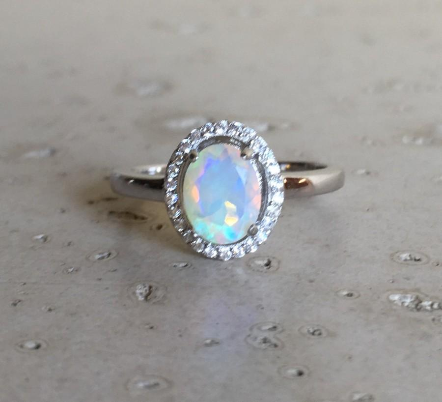 Oval Shape Opal Engagement Ring Fire Promise Natural Wedding Sterling Silver October Birthstone
