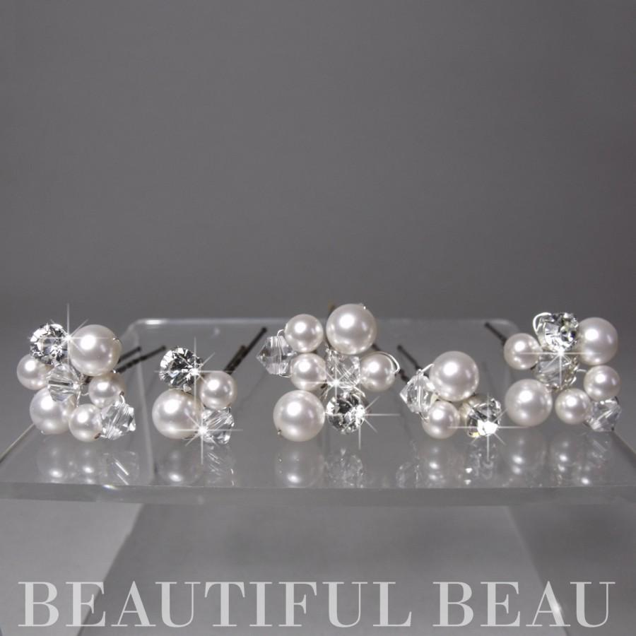 pearl hair pins, bridal hair pins, bridesmaid hair pins, crystal