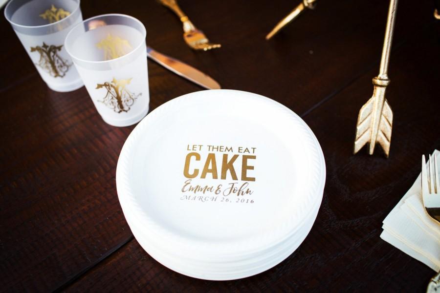 Personalized Plates Plastic Cake Wedding Favors Custom Dessert Shower Anniversary