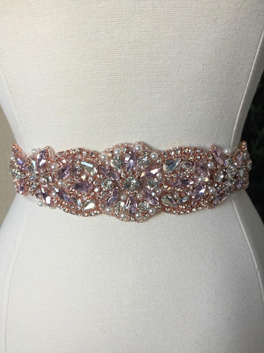 Pink And Rose Gold Bridal Sash Wedding Dress Belt Crystal Rhinestone Ivory