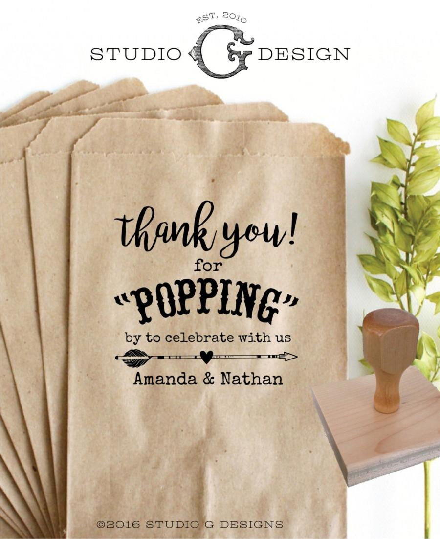 Thank You Popcorn Bag Favor Stamp 3x3 In Personalized Wedding Paper Goods