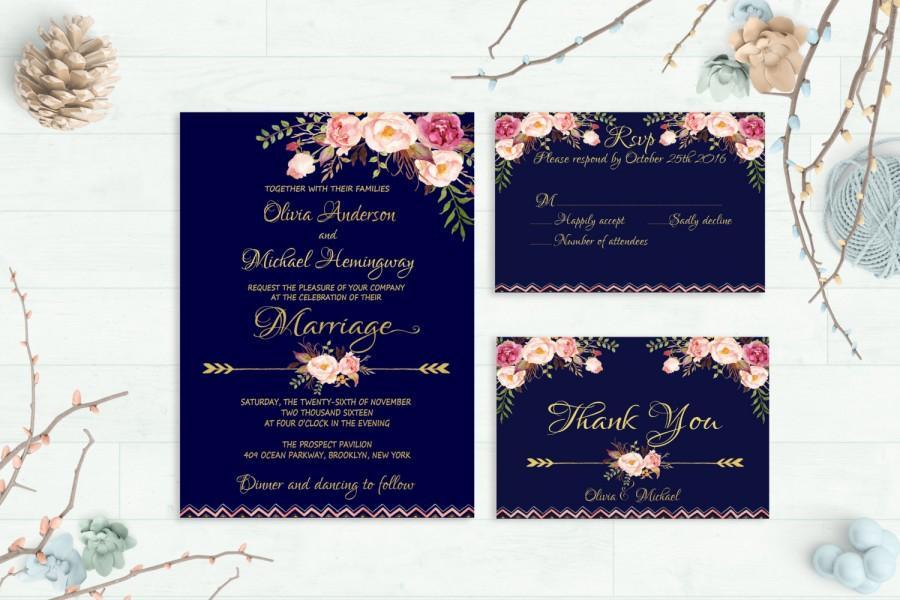 Navy Wedding Invitation Printable Fl Invite Suite Rustic Kit Gold Foil Typography Boho Peonies