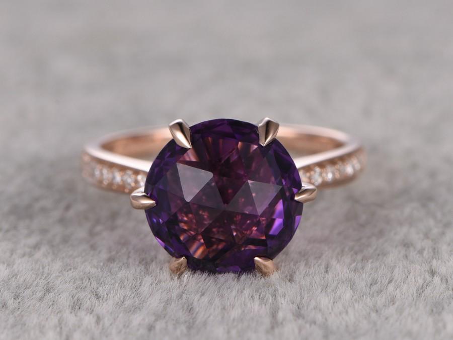 Relatively Round Amethyst Engagement Ring,Diamond Wedding Ring,14K Rose Gold  XL23