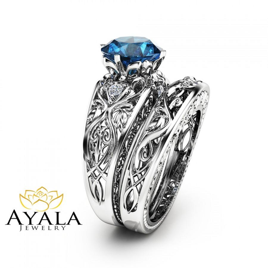 London Blue Topaz Engagement Ring Set Unique 14k White Gold Bridal Rings 2 Carat Art Deco